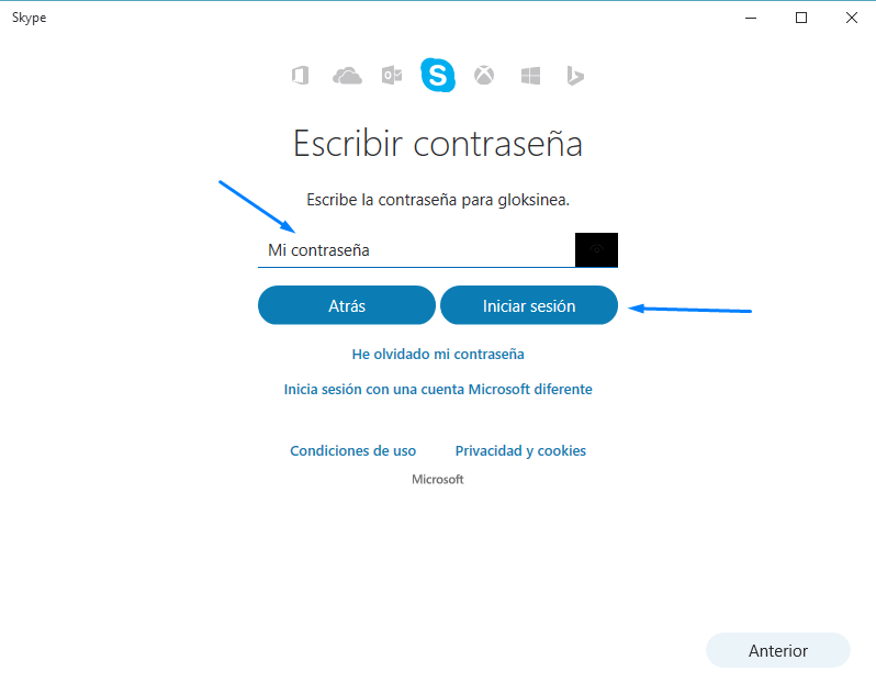reuniones de ACA por skype - contraseña de Skype