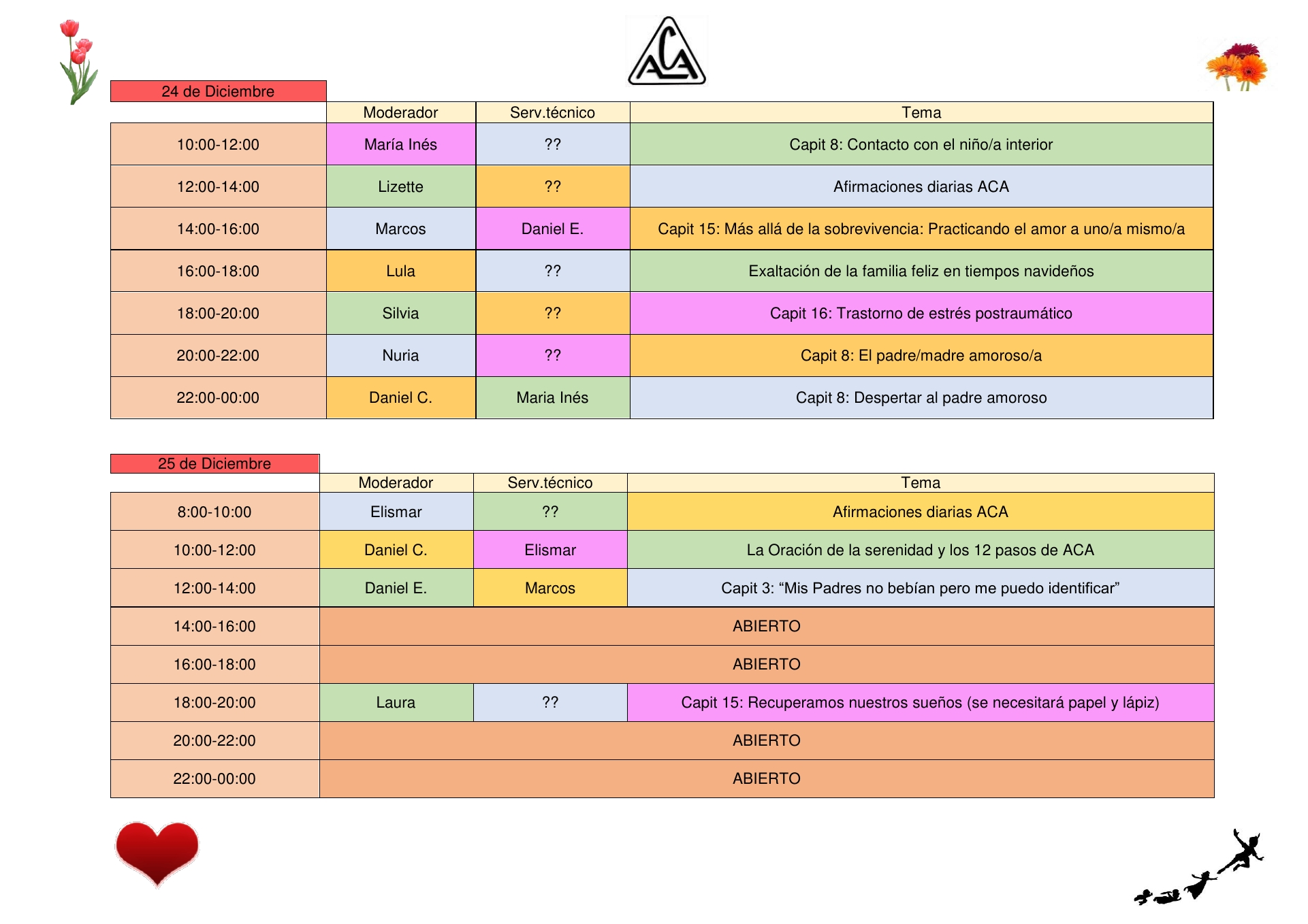 Minimaratón de reuniones 24 y 25 de diciembre - horario
